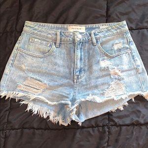 PacSun Distressed High Rise Denim Shorts (26)
